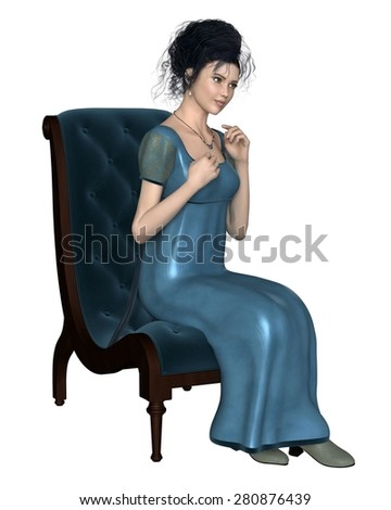 Illustration of a regency period (late 18th to early 19th century) woman wearing a blue dress, sitting on a velvet chair, 3d digitally rendered illustration - stock photo