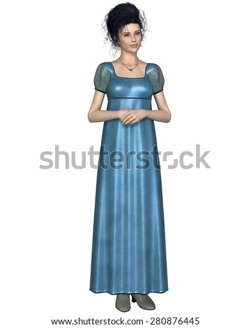 Illustration of a regency period (late 18th to early 19th century) woman wearing a blue dress, standing with her hands folded, 3d digitally rendered illustration - stock photo