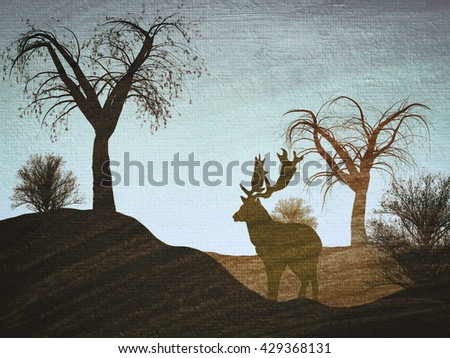 Illustration of a reindeer in a forest  - stock photo