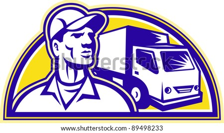 Illustration of a removal man delivery guy with moving truck van in the background set inside half circle done in retro style.