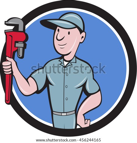 Illustration of a repairman handyman worker wearing hat carrying holding monkey wrench looking to the side viewed from front set inside circle done in cartoon style.  - stock photo
