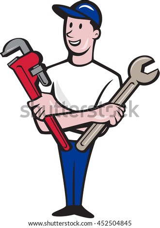 Illustration of a repairman handyman worker wearing hat standing holding spanner and monkey wrench looking to the side viewed from front set on isolated white background done in cartoon style.  - stock photo
