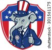 Illustration of a republican elephant mascot of the republican party wearing hat and suit showing thumbs up set inside shield with usa american stars and stripes in background done in cartoon style.  - stock photo