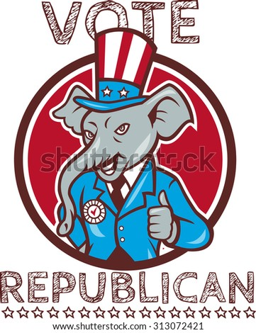 Illustration of a republican elephant mascot of the republican party wearing hat and suit thumbs set inside circle done in cartoon style with words Vote Republican - stock photo