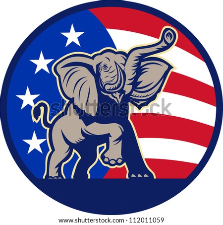 Illustration of a republican elephant mascot with American USA stars and stripes flag done in retro style.