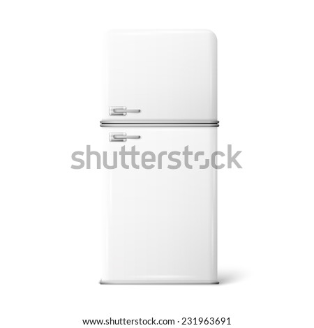 Illustration of a retro fridge on a white background - stock photo