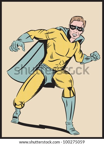 Illustration of a retro style super hero about to punch - stock photo