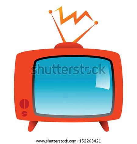 illustration of a retro television on white background - stock photo