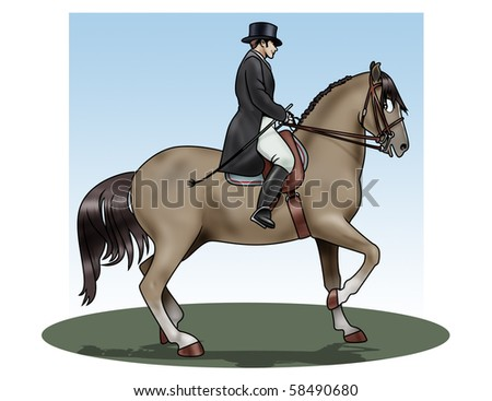 Illustration of a rider and his horse making an exercise of dressage - stock photo