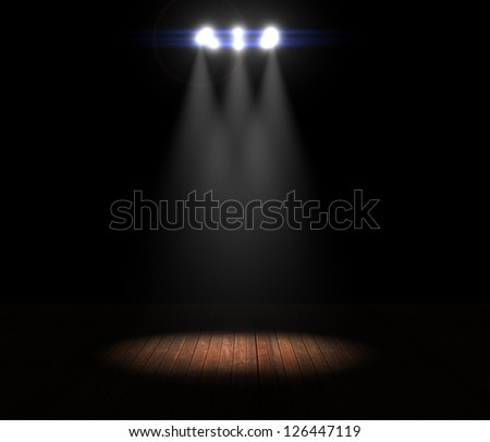 Illustration of a Ring of Stage Lights Shining Down On Stage - stock photo