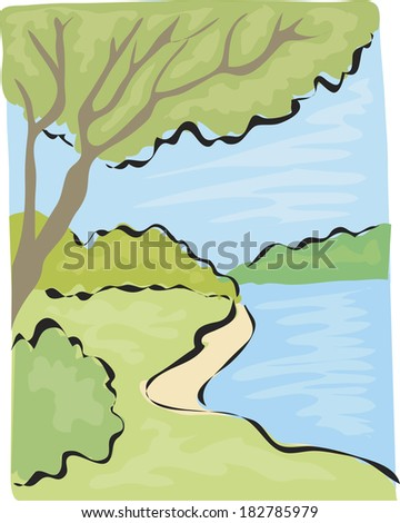 Illustration of a river flowing through a forest