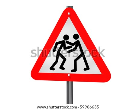 Illustration of a road traffic sign signaling road rage - stock photo