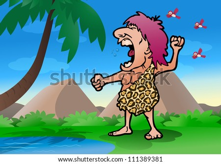 illustration of a roaring jungle man wearing leopard cloth on nature background - stock photo