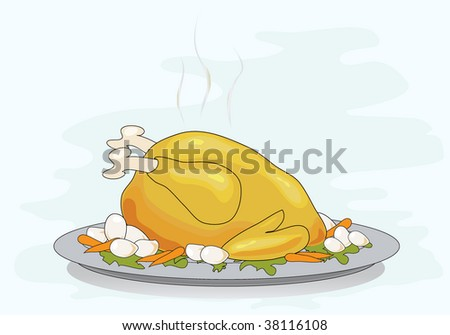 Illustration of a roast turkey on a platter with vegetables - stock photo