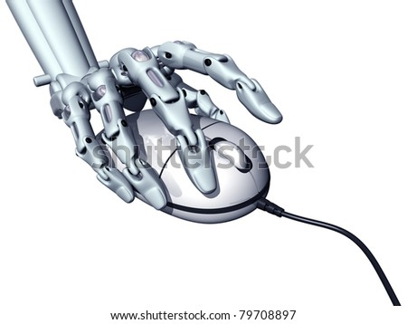 Illustration of a robot controlling a computer mouse - stock photo