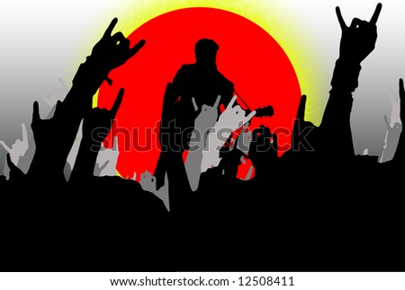 Illustration of a rock concert with people waving hands