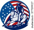 illustration of a Rodeo cowboy horse cutting stars and stripes in the background - stock photo