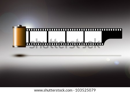 Illustration of a roll of 35mm film strip - stock photo