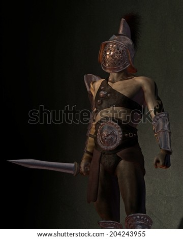 Illustration of a Roman gladiator based on the Murmillo or Myrmillo type with gladius short sword, helmet and armour standing in the shadows, 3d digitally rendered illustration - stock photo