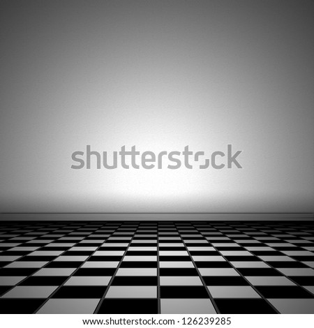 Illustration of a room with tiled floor and plastered wall - stock photo