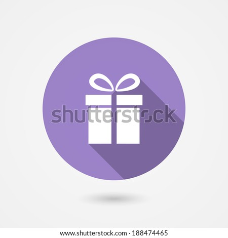 illustration of a round gift icon showing a square gift box with a bow depicting a special occasion such as a birthday  anniversary  wedding  Valentines or Christmas or the concept of shopping - stock photo