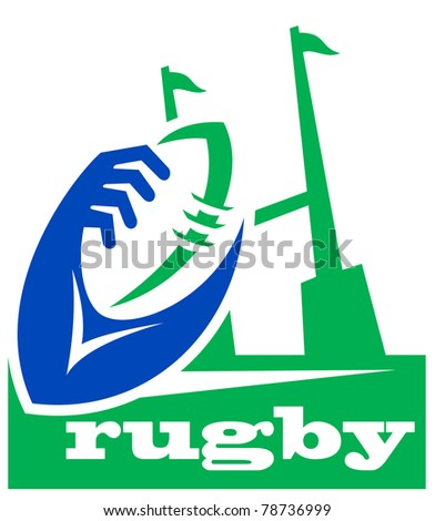 illustration of a rugby ball with hands holding and goal post - stock photo