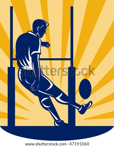 illustration of a rugby player kicking at goal post - stock photo