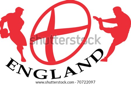 illustration of a rugby player passing kicking the ball side view set inside oval or ball with English flag and words England - stock photo