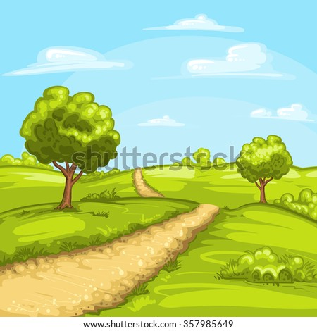 Illustration of a rural spring landscape - stock photo
