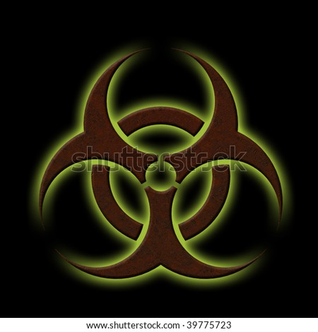 Illustration of a rusty bio-hazard symbol with glowing green back light - stock photo