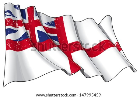"Illustration of a rusty British Naval  flag of the period 1606-1801 also known as ""The King's Colours"", printed on old paper. - stock photo"
