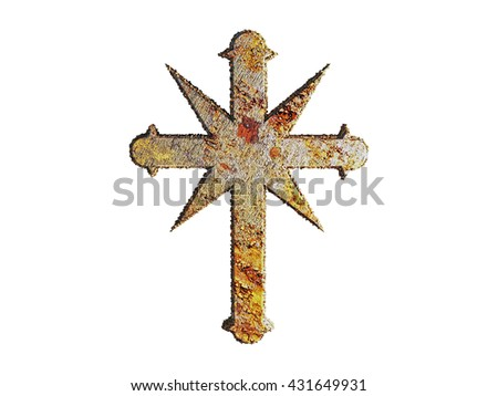 illustration of a rusty cross isolated on white background - stock photo