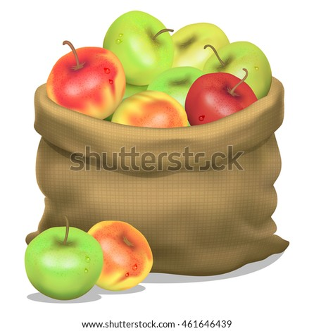 Illustration of a sack of apples on a white background.