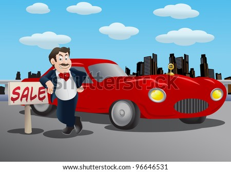 illustration of a salesman offering luxury red car over city background - stock photo