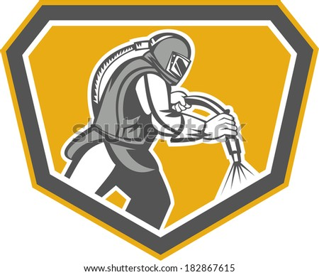 Illustration of a sandblaster worker holding sandblasting hose wearing helmet visor set inside shield crest shape done in retro style.