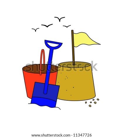 Illustration of a sandcastle bucket spade and seagulls - stock photo