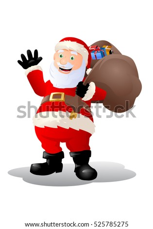 illustration of a santa claus who seems happy on isolated white background