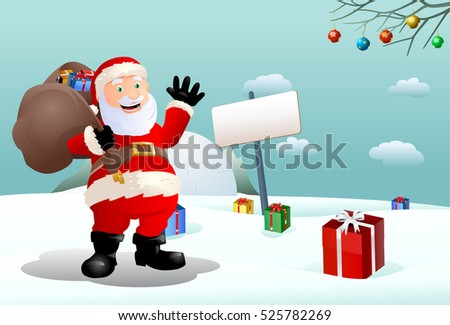illustration of a santa claus who seems happy on winter background