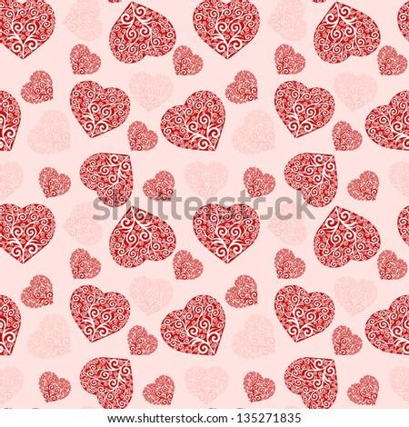 Illustration of a seamless hearts pattern. - stock photo