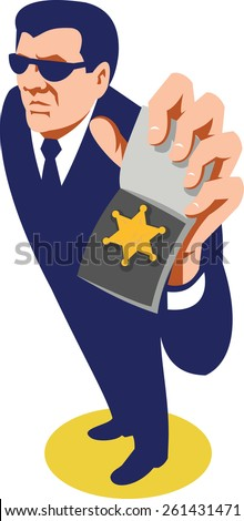 Illustration of a secret agent detective police officer policeman showing ID badge done in retro style viewed from high angle on isolated white background.  - stock photo