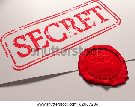 Illustration of a secret document with a wax seal - stock photo