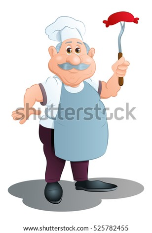 illustration of a senior chef cook sausage on isolated white background
