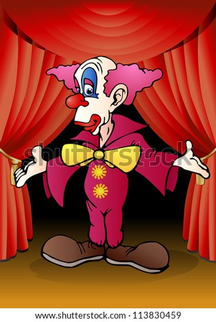 illustration of a senior purple funny clown performance on stage background - stock photo