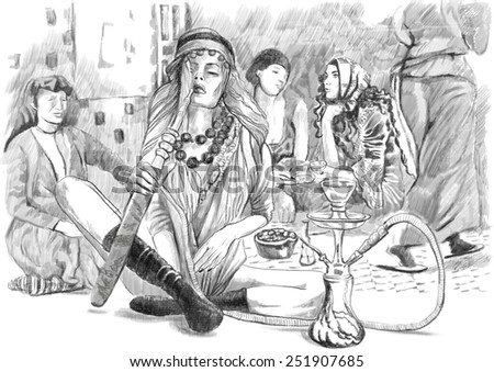 Illustration of a series Smoking: Young three-handed woman smoking Hookah (Hashish hallucinations). An hand drawn and painted full sized illustration (Original). Version: Drawing on white background. - stock photo