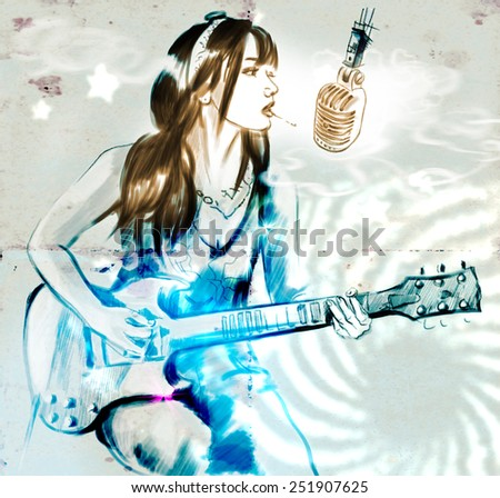 Illustration of a series Smoking: Young woman smoking cigarette and playing guitar. An hand drawn and painted full sized illustration (Original). Version: Grunge, Hand drawing. - stock photo