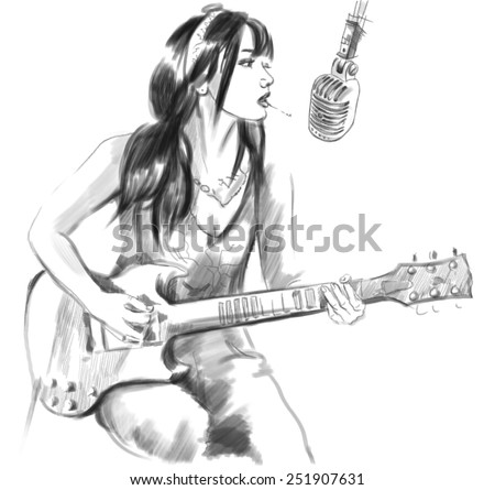 Illustration of a series Smoking: Young woman smoking cigarette and playing guitar. An hand drawn and painted full sized illustration (Original). Version: Hand drawing on white background. - stock photo