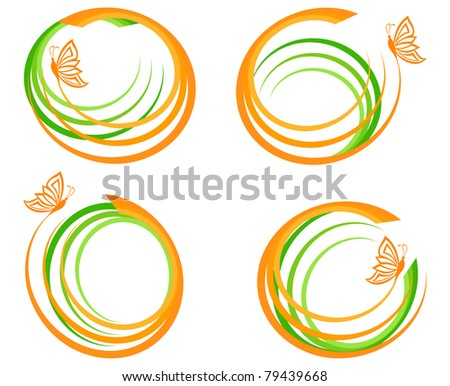 illustration of a set of a green waves with orange butterfly. Can be used as logo. Raster version - stock photo