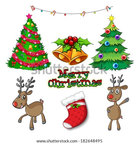 Illustration of a set of christmas decors on a white background