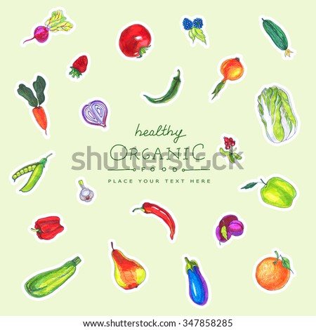 illustration of a set of hand-painted vegetables, fruits. Organic food banner design. - stock photo