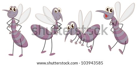 Illustration of a set of mosquitos - EPS VECTOR format also available in my portfolio. - stock photo